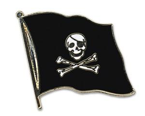 Flaggen-Pins Pirat mit Knochen (geschwungen)