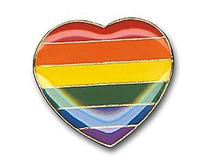 Pin Rainbow Heart, 17 mm